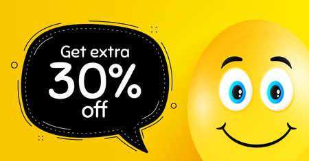 Get Extra 30 percent off Sale. Easter egg with smile face. Discount offer price sign. Special offer symbol. Save 30 percentages. Easter smile character. Extra discount black speech bubble. Vector