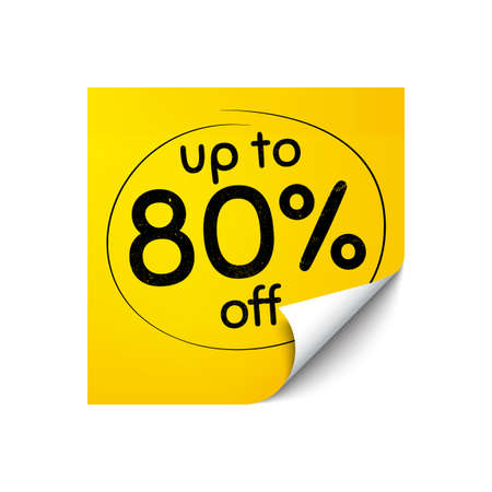 Up to 80 percent off Sale. Sticker note with offer message. Discount offer price sign. Special offer symbol. Save 80 percentages. Yellow sticker banner. Discount tag badge shape. Post note. Vector