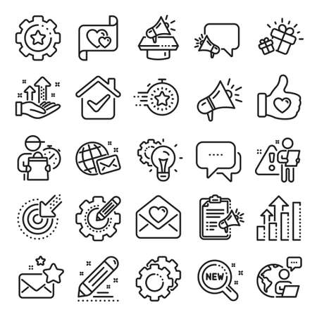 Brand social project line icons. Business strategy, Megaphone and Representative. Influence campaign, social media marketing, brand ambassador icons. Innovation, gift, like sign. Line icon set. Vector