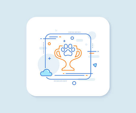 Dog competition line icon. Abstract square vector button. Pets award sign. Champion winner cup symbol. Winner cup line icon. Quality concept badge. Vector