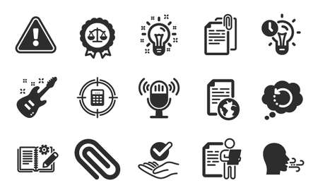 Calculator target, Microphone and Job interview icons simple set. Document attachment, Internet document and Paper clip signs. Flat icons set. Vector