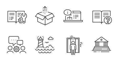 Online documentation, Elevator and Help line icons set. Lighthouse, Court building and Engineering team signs. Send box, Engineering documentation symbols. Quality line icons. Vector