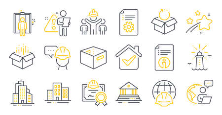 Set of Industrial icons, such as Open box, Skyscraper buildings, Return package symbols. Buildings, Lighthouse, Foreman signs. Certificate, Court building, Office box. Engineering team. Vector