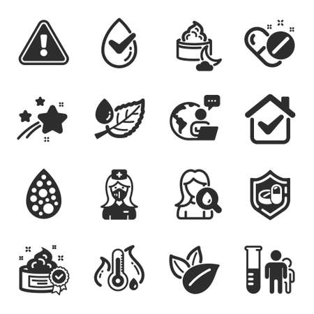 Set of Healthcare icons, such as Cream, Leaf dew, Moisturizing cream symbols. Medical pills, Medical tablet, Organic product signs. Fever temperature, Dermatologically tested, Nurse. Vector