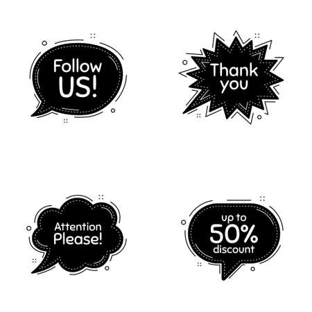 Follow us, 50 percent discount and attention please phrases. Speech bubbles vector set. Sale shopping text. Thought speech balloon website element. Discount chat think bubbles. Vector