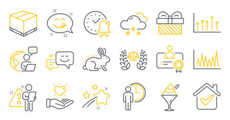Set of line icons, such as Line graph, Animal tested, Justice scales symbols. Growth chart, Hold heart, Happy emotion signs. Ice cream, Certificate, Gift. Alarm bell, Yummy smile, Waiting. Vector Ilustrace