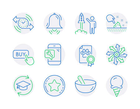 Business icons set. Included icon as Skin moisture, Cooking mix, Continuing education signs. Versatile, Loyalty star, Clock bell symbols. Buy button, Timer, Phone repair. Dog certificate. Vector