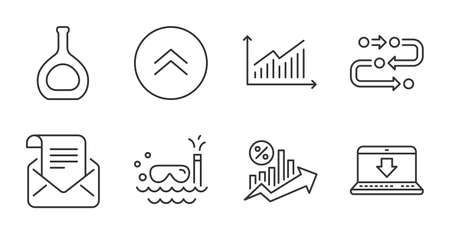 Graph, Internet downloading and Mail newsletter line icons set. Methodology, Cognac bottle and Swipe up signs. Scuba diving, Loan percent symbols. Quality line icons. Graph badge. Vector