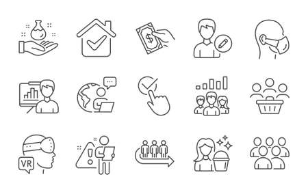 Queue, Group and Buyers line icons set. Presentation board, Augmented reality and Teamwork results signs. Pay money, Cleaning and Checkbox symbols. Line icons set. Vector