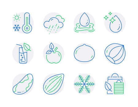 Nature icons set. Included icon as Water drop, Rainy weather, Macadamia nut signs. Water splash, Eco food, Almond nut symbols. Weather thermometer, Snowflake, Hazelnut. Bio shopping. Vector