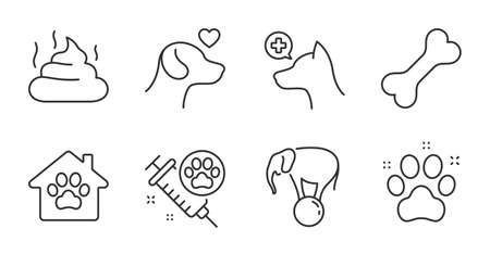 Pet friendly, Dog vaccination and Dog bone line icons set. Pet shelter, Pets care and Feces signs. Veterinary clinic, Elephant on ball symbols. Pets medicine, Shelter, Excrement. Animals set. Vector