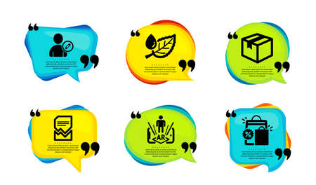 Augmented reality, Leaf dew and Edit user icons simple set. Speech bubble with quotes. Parcel, Corrupted file and Shopping bags signs. Phone simulation, Water drop, Profile data. Vector