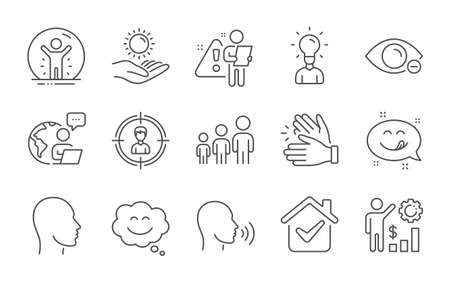 Human sing, Headhunting and Head line icons set. Education, Myopia and Clapping hands signs. Sun protection, Yummy smile and Business hierarchy symbols. Line icons set. Vector
