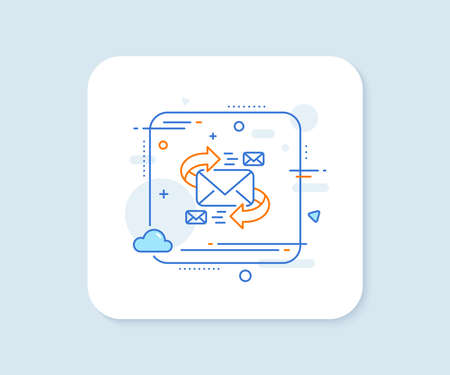 Mail line icon. Abstract square vector button. Communication by letters symbol. E-mail chat sign. E-Mail line icon. Quality concept badge. Vector