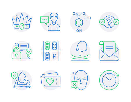 Line icons set. Included icon as Chemical formula, Quiz test, Security contract signs. Love tickets, Face declined, Elastic symbols. Flood insurance, Parking place, Crown. Person talk. Vector