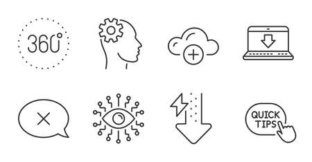Quick tips, Engineering and Cloud computing line icons set. Energy drops, Internet downloading and 360 degrees signs. Artificial intelligence, Reject symbols. Quality line icons. Vector