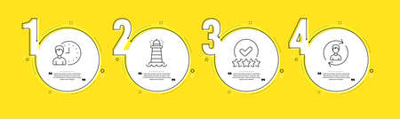 Rating stars, Working hours and Lighthouse line icons set. Timeline process infograph. Human resources sign. Verified rank, Project deadline, Searchlight tower. Update profile. Vector Ilustrace