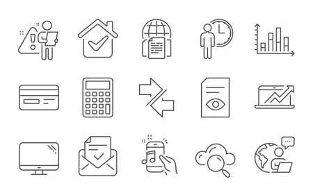 Synchronize, Computer and Waiting line icons set. Sales diagram, Approved mail and Diagram graph signs. Calculator, Cloud computing and Music phone symbols. Line icons set. Vector Ilustrace