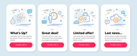 Set of Business icons, such as Verified locker, Fireworks explosion, Waiting symbols. Mobile app mockup banners. Cloud computing line icons. Protection locker, Pyrotechnic salute, Service time. Vector