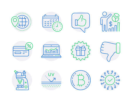 Business icons set. Included icon as World travel, Bitcoin, Microscope signs. Dislike hand, Calendar, Seo statistics symbols. Like, Surprise gift, Cashback. Uv protection, Web analytics. Vector