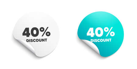 40 percent Discount. Round sticker with offer message. Sale offer price sign. Special offer symbol. Circle sticker mockup banner. Discount badge shape. Adhesive offer paper banner. Vector