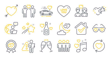 Set of Love icons, such as Love night, Update relationships, Love music symbols. Champagne glasses, Friendship, Honeymoon travel signs. Friends couple line icons. Line icons set. Vector