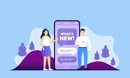 Whats new symbol. Phone online chatting banner. Special offer sign. New arrivals symbol. Whats new chat bubble. Mobile phone with characters of people. Cellphone chat messages. Vector