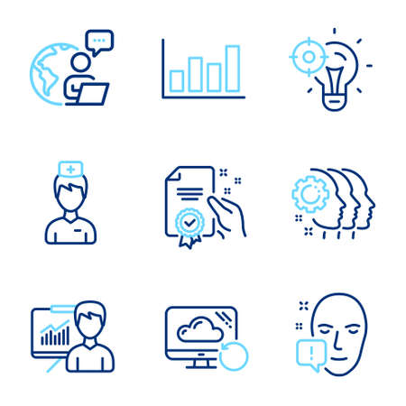Science icons set. Included icon as Recovery cloud, Face attention, Report diagram signs. Seo idea, Presentation, Employees teamwork symbols. Doctor, Certificate line icons. Line icons set. Vector