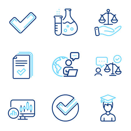 Education icons set. Included icon as Tick, Chemistry flask, Student signs. Lawyer, Verify, Justice scales symbols. Candlestick chart, Handout line icons. Confirm check, Laboratory. Vector