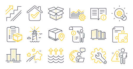 Set of Industrial icons, such as Technical info, Parcel checklist, Stairs symbols. Open box, Innovation, Manual doc signs. Parcel tracking, Strategy, Customisation. Evaporation, Lighthouse. Vector