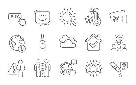 Beer bottle, Search and Boarding pass line icons set. Global business, Buy button and Smile face signs. Freezing, Cloudy weather and Business idea symbols. Line icons set. Vector
