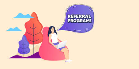 Referral program symbol. Remote freelance employee. Refer a friend sign. Advertising reference. Woman sitting in beanbag. Referral program chat bubble. Vector Ilustración de vector