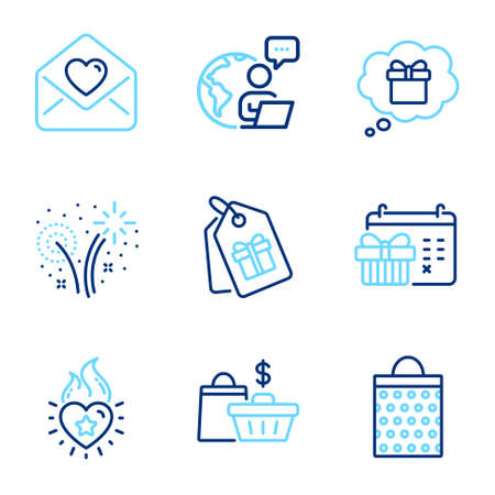 Holidays icons set. Included icon as Sale bags, Heart flame, Shopping bag signs. Gift dream, Christmas calendar, Coupons symbols. Love letter, Fireworks line icons. Shopping cart, Love fire. Vector