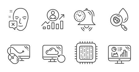 Analytics graph, Career ladder and Cpu processor line icons set. Computer mouse, Time management and Face declined signs. Recovery cloud, Water analysis symbols. Quality line icons. Vector