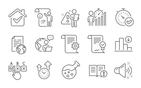 Internet document, Fast verification and Facts line icons set. Business statistics, Approved agreement and Technical documentation signs. Line icons set. Vector