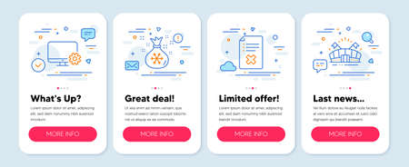 Set of Business icons, such as Monitor settings, Reject file, Santa sack symbols. Mobile screen app banners. Sports arena line icons. Service cogwheel, Decline agreement, Gifts bag. Vector