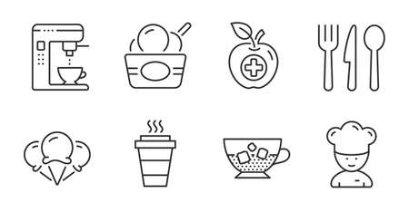 Cold coffee, Ice cream and Coffee maker line icons set. Food, Ice creams and Cooking chef signs. Medical food, Takeaway symbols. Sundae cup, Tea machine, Cutlery. Food and drink set. Vector