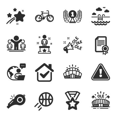 Set of Sports icons, such as Winner, Arena stadium, Winner ribbon symbols. Certificate, Basketball, Bicycle signs. Sports arena, Swimming pool, Success. Laureate award, Ole chant, Whistle. Vector