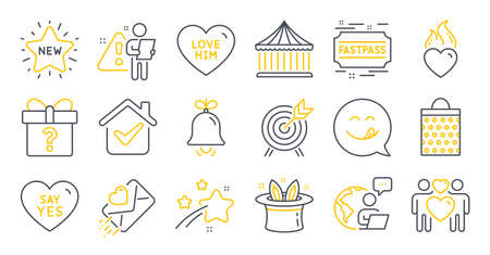 Set of Holidays icons, such as Love couple, Yummy smile, New star symbols. Fastpass, Love letter, Heart flame signs. Archery, Say yes, Shopping bag. Bell, Hat-trick, Carousels. Secret gift. Vector