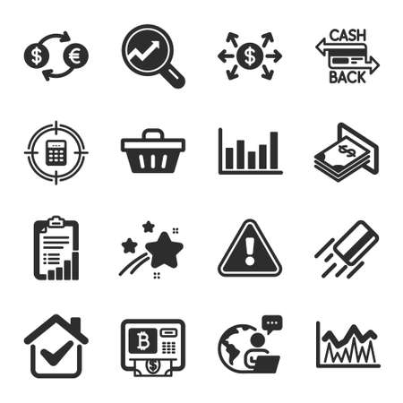 Set of Finance icons, such as Cashback card, Bitcoin atm, Currency exchange symbols. Investment, Dollar exchange, Checklist signs. Credit card, Analytics, Column chart. Atm money. Vector