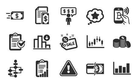 Checklist, Money transfer and Report diagram icons simple set. Bitcoin pay, Block diagram and Candlestick graph signs. Employee benefits, Loyalty star and Sale symbols. Flat icons set. Vector