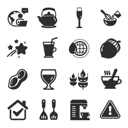 Set of Food and drink icons, such as World water, Teapot, Gluten free symbols. Wine glass, Coffee cup, Tea cup signs. Acorn, Peanut, Champagne glass. Cooking cutlery, Coffee machine. Vector