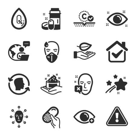 Set of Healthcare icons, such as Skin care, Sick man, Collagen skin symbols. Health eye, Leaf, Face declined signs. No alcohol, Farsightedness, Face biometrics. Medical drugs, Capsule pill. Vector