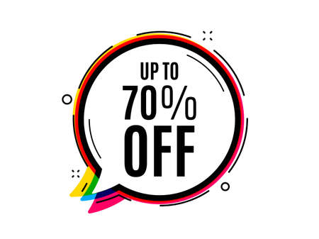 Up to 70 percent off Sale. Speech bubble vector banner. Discount offer price sign. Special offer symbol. Save 70 percentages. Thought or dialogue speech balloon shape. Discount chat bubble. Vector