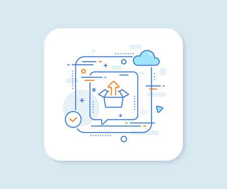 Send box line icon. Abstract vector button. Open delivery parcel sign. Cargo package symbol. Send box line icon. Speech bubble concept. Vector Иллюстрация