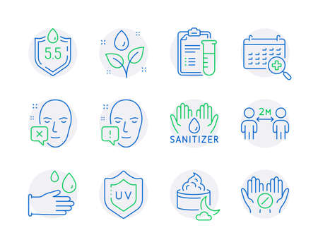 Healthcare icons set. Included icon as Medical analyzes, Plants watering, Face declined signs. Night cream, Medical calendar, Rubber gloves symbols. Ph neutral, Hand sanitizer line icons. Vector