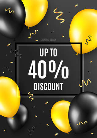 Up to 40 percent Discount. Celebrate balloon background. Sale offer price sign. Special offer symbol. Save 40 percentages. Birthday balloon background. Celebrate banner. Party frame message. Vector