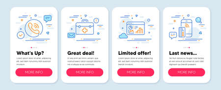 Set of Business icons, such as Call center, Seo statistics, First aid symbols. Mobile screen app banners. Contactless payment line icons. Phone support, Analytics chart, Medicine kit. Vector