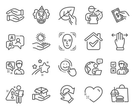 People icons set. Included icon as Support chat, Multitasking gesture, Helping hand signs. Clown, Repairman, Opinion symbols. Organic tested, Smile, Heart. Face detection, Sun protection. Vector Vector Illustratie