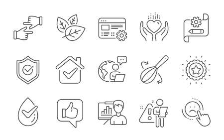 Cooking whisk, Organic tested and Dermatologically tested line icons set. Web settings, Click hands and Hold heart signs. Presentation board, Approved shield and Winner star symbols. Vector Vector Illustratie